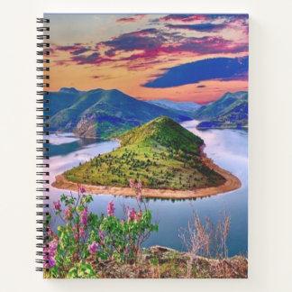 Cuaderno floral de la puesta del sol de las