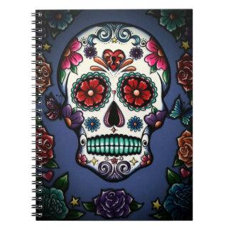 Cuaderno floral del cráneo del azúcar