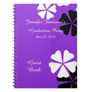 Cuaderno Floral púrpura y blanco del libro de visitas de la