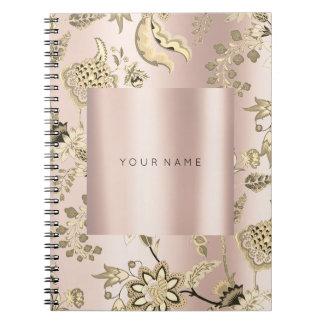 Cuaderno FLORAL se ruboriza el polvo color de rosa rosado