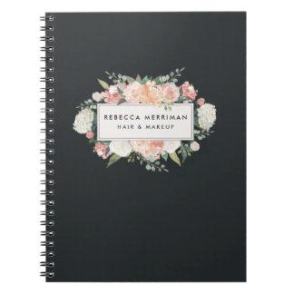 Cuaderno Florales antiguos se ruborizan y carbón de leña