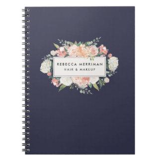 Cuaderno Florales antiguos se ruborizan y marina de guerra