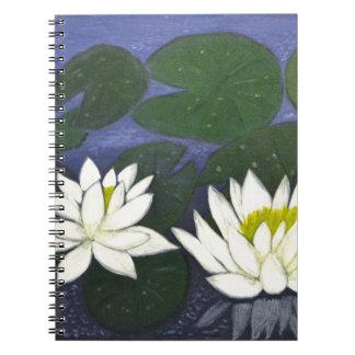 Cuaderno Flores blancas de Waterlily, pintura de acrílico