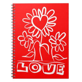 Cuaderno Flores florales y corazones rojos y blancos del