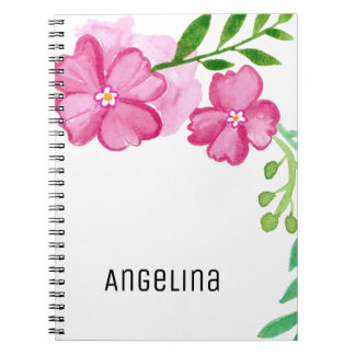 Cuaderno Flores personalizadas del rosa de la acuarela