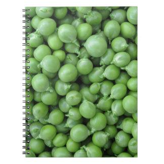 Cuaderno Fondo del guisante verde. Textura de guisantes