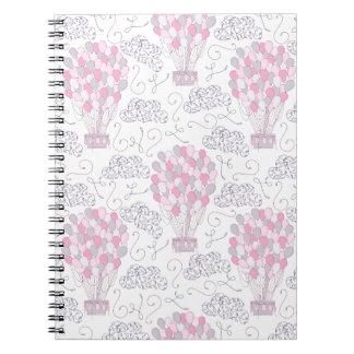 Cuaderno Globos del aire caliente en arte rosado del cuarto