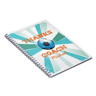 Cuaderno Gracias del coche del fútbol, naranja en el
