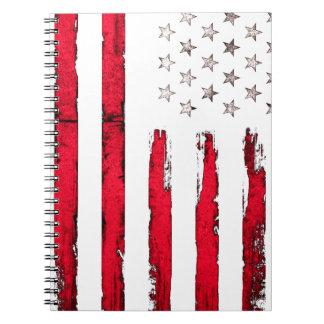 Cuaderno Grunge del rojo de la bandera americana