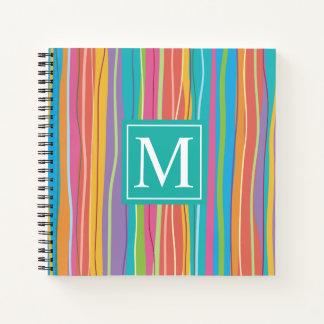 Cuaderno Guestbook abstracto colorido dulce del monograma