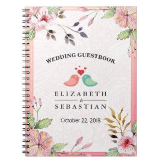 Cuaderno Guestbook floral del boda de la escritura de la