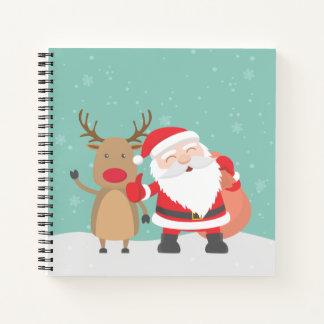 Cuaderno Guestbook muy lindo de Papá Noel y del reno