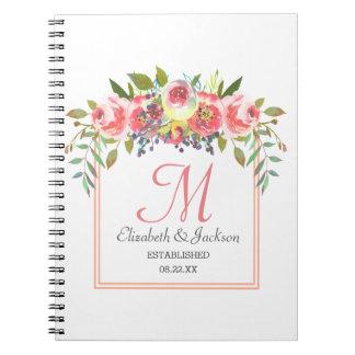 Cuaderno Guirnalda floral de la acuarela del melocotón del