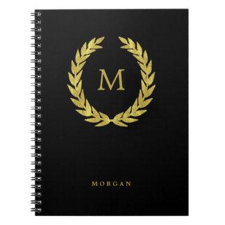 Cuaderno Guirnalda negra y falsa del laurel del oro con
