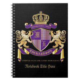 Cuaderno Haga su propio emblema de la corona del monograma