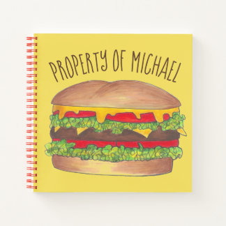 Cuaderno Hamburguesa personalizada Foodie del cheeseburger