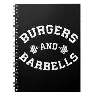 Cuaderno Hamburguesas y Barbells - motivación de elevación
