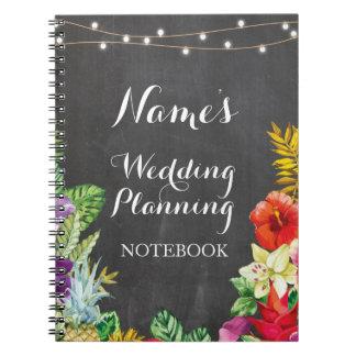Cuaderno Hawaiana tropical Luau del planeamiento del boda