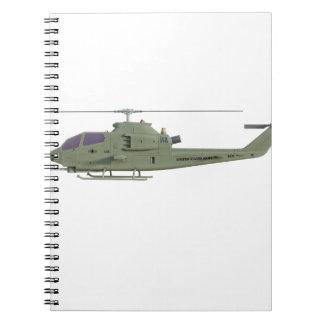 Cuaderno Helicóptero de Apache en perfil de la vista