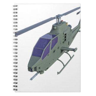 Cuaderno Helicóptero de Apache en vista delantera