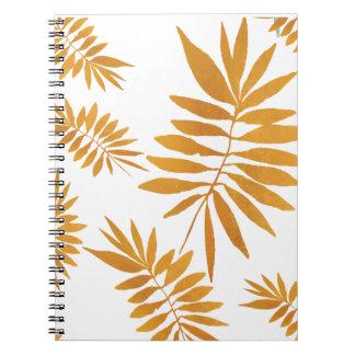 Cuaderno Hojas dispersadas del helecho de la hoja de oro