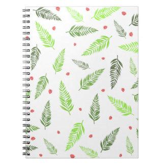 Cuaderno Hojas y modelo tropicales de la fresa