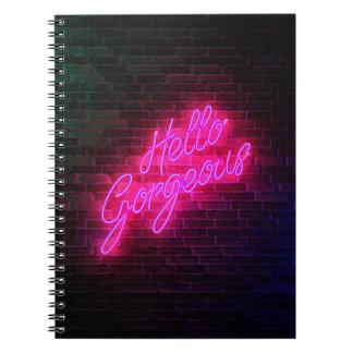 Cuaderno Hola magnífico - señal de neón