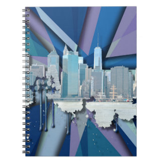 Cuaderno Horizonte el | 3D azul de New York City