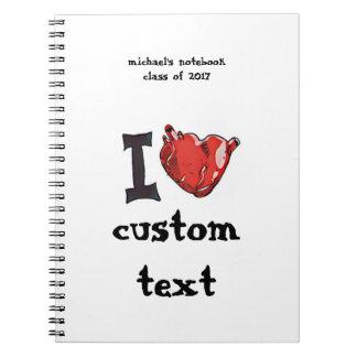 Cuaderno i personalizable del dibujo animado del amor del