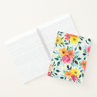 Cuaderno Ilustracion floral de la acuarela amarilla rosada