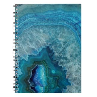 Cuaderno Imagen mineral del cristal de la ágata de la roca