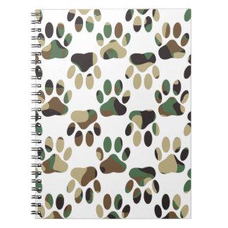 Cuaderno Impresión de la pata del perro del modelo de Camo