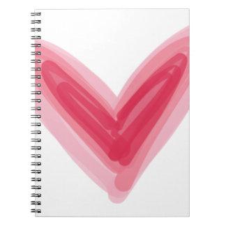 Cuaderno Impresión rosada bonita del corazón, amor hermoso