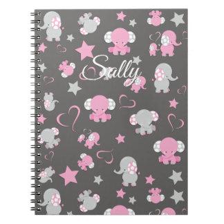 Cuaderno Impresión rosada y gris del modelo del elefante