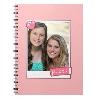 Cuaderno inmediato de encargo blanco y rosado del