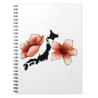 Cuaderno Japón con flores de cerezos y tarjeta
