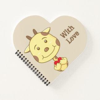 Cuaderno Jirafa de la tarjeta del día de San Valentín