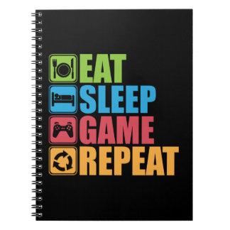 Cuaderno Juego - coma, duerma, juego, repetición -