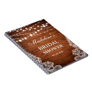 Cuaderno La madera nupcial rústica de la ducha enciende la