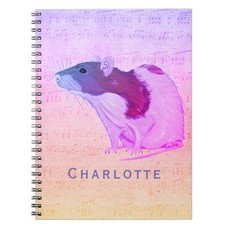 Cuaderno La rata rosada del mascota añade su rata conocida