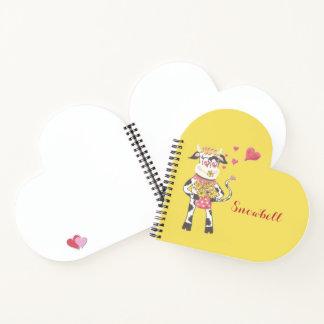 Cuaderno La vaca personalizó el espiral del corazón -