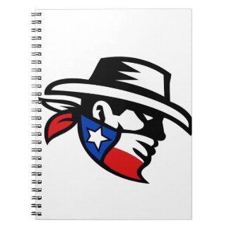 Cuaderno Lado del vaquero del bandido de Tejas retro