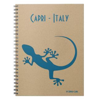 Cuaderno Lagarto azul, geko - Faraglioni, Capri, Italia