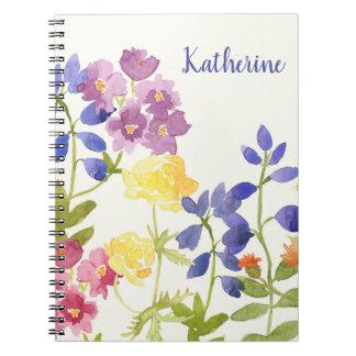 Cuaderno Las flores escocesas salvajes personalizaron el