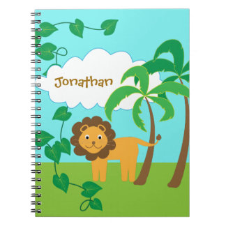 Cuaderno León en selva con las palmeras personalizadas