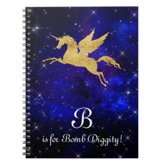Cuaderno Letra cósmica B de la estrella del negro del añil