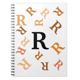 Cuaderno - letras anaranjadas caídas