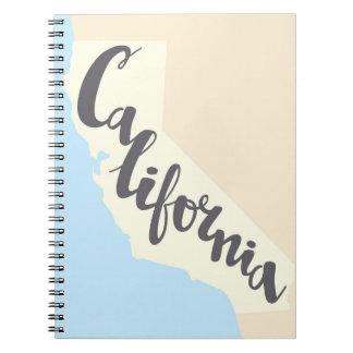 Cuaderno Letras del cepillo de California con el mapa de la