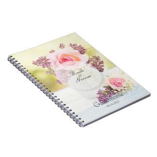 Cuaderno Libro de visitas del boda del vintage de las lilas