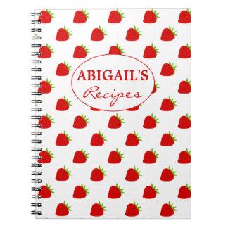 Cuaderno lindo de la receta del modelo de la fresa